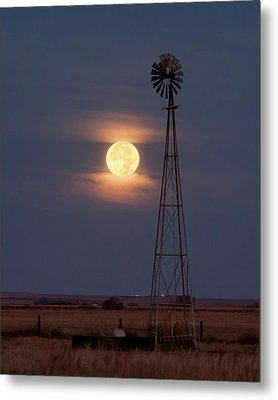 Super Moon And Windmill Metal Print by Rob Graham