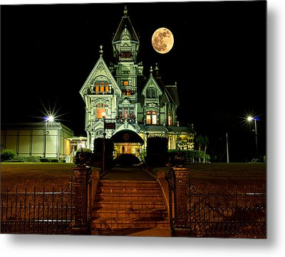 Super Moon Over Carson Mansion Metal Print by Greg Nyquist