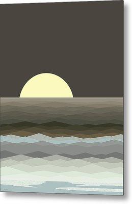 Surf At Moonrise Metal Print