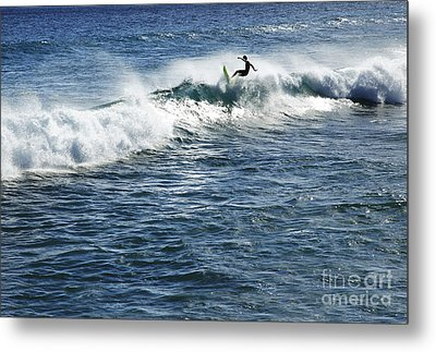 Surfer Riding A Wave Metal Print by Brandon Tabiolo - Printscapes