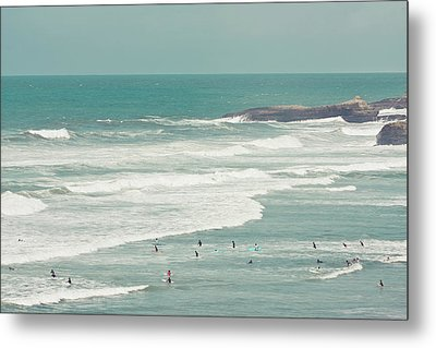 Surfers Lying In Ocean Metal Print by Cindy Prins