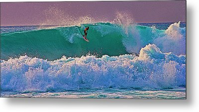 Surfing A-bay At Sunset Metal Print