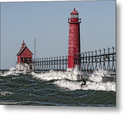 Surfing At Grand Haven Metal Print by Wade Aiken