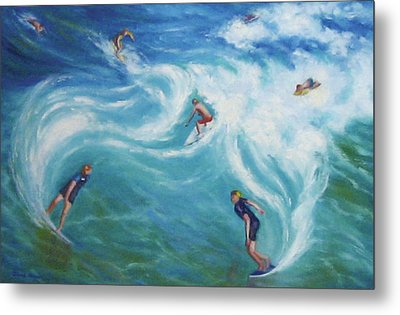 Surfing Metal Print by Diane Quee