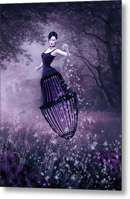 Surreal Fairy And Her Magic Seed  Metal Print