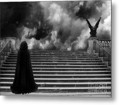 Surreal Gothic Infrared Black Caped Figure With Gargoyle On Paris Steps Metal Print