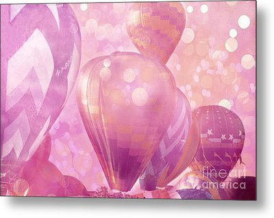 Surureal Hot Air Balloons Lavender Pink White Decor - Carnival Hot Air Balloons Nursery Room Decor Metal Print