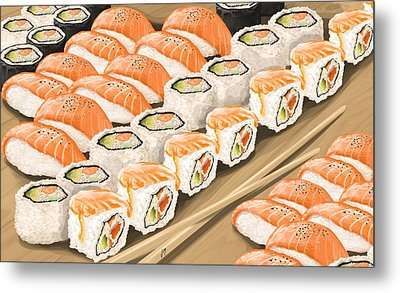 Metal Print featuring the painting Sushi by Veronica Minozzi