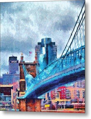 Suspension Bridge And Cincinnati Metal Print by Dan Sproul