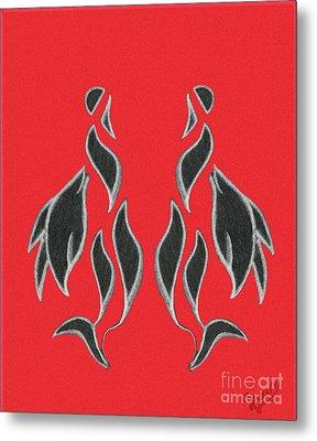 Swan Reflection Black Orange Metal Print
