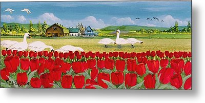 Swans And Tulips Metal Print by Bob Patterson