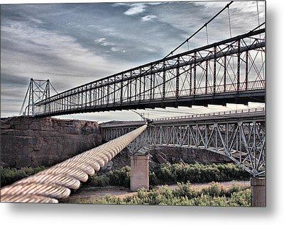 Metal Print featuring the photograph Swayback Suspension Bridge by Farol Tomson