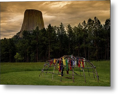 Metal Print featuring the photograph Sweat Lodge At Devil's Tower by Gary Lengyel