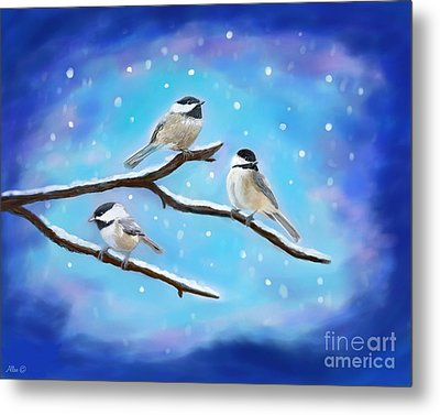 Metal Print featuring the painting Sweetest Winter Birdies by Leslie Allen