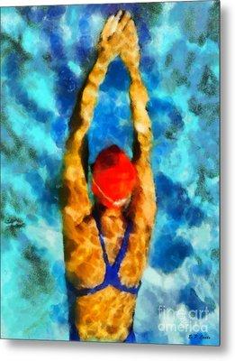 Swimmer Metal Print by Elizabeth Coats