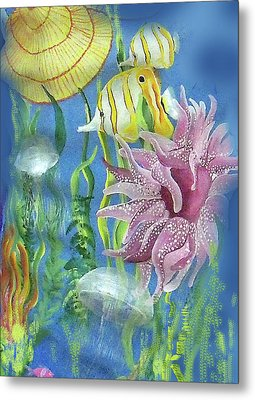 Swimming With The Jellies Metal Print by Janis Grau