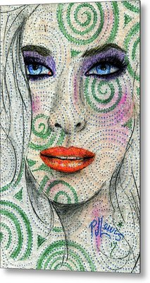 Metal Print featuring the drawing Swirl Girl by P J Lewis