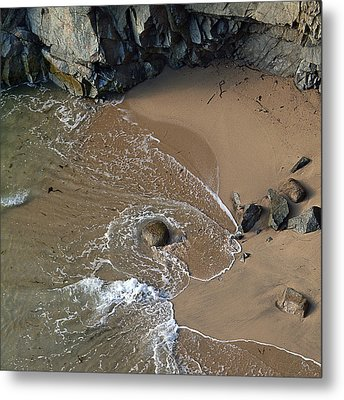 Swirling Surf And Rocks Metal Print by Charlene Mitchell