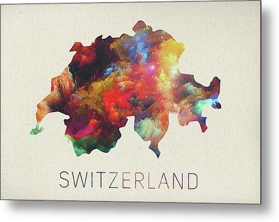 Switzerland Watercolor Map Metal Print