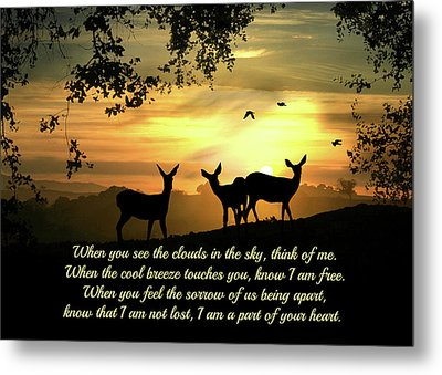 Sympathy Poem With Deer In Sunrise Metal Print