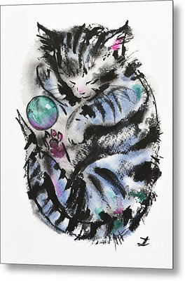 Tabby Dreams Metal Print by Zaira Dzhaubaeva