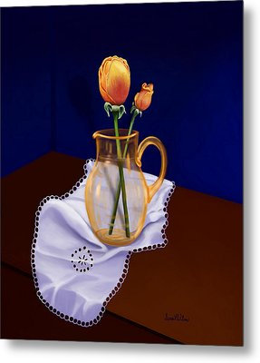 Metal Print featuring the painting Table Roses by Sena Wilson