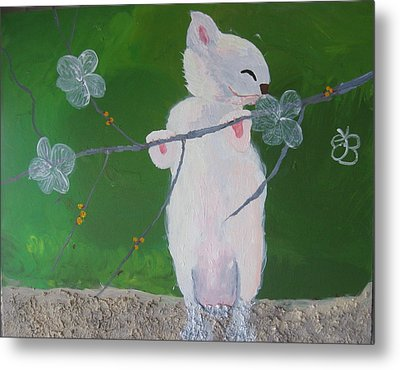 Take Time To Smell The Flowers Metal Print by AJ Brown