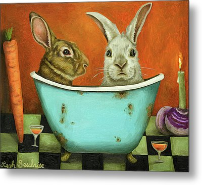 Tale Of Two Bunnies Metal Print by Leah Saulnier The Painting Maniac