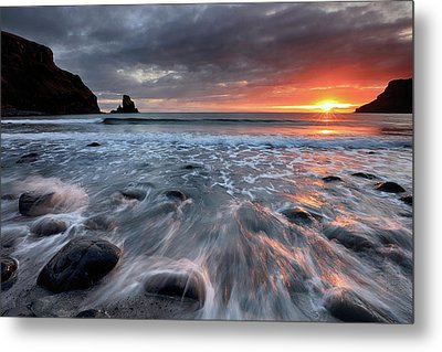 Metal Print featuring the photograph Talisker Bay Rocky Sunset by Grant Glendinning
