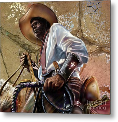 Tall In The Saddle Cowboy Pride 1a Metal Print by Reggie Duffie
