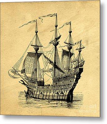 Tall Ship Vintage Metal Print
