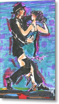 Metal Print featuring the painting Tango J by Mary Armstrong