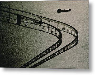 Tanker And Chesapeake Bay Bridge Metal Print