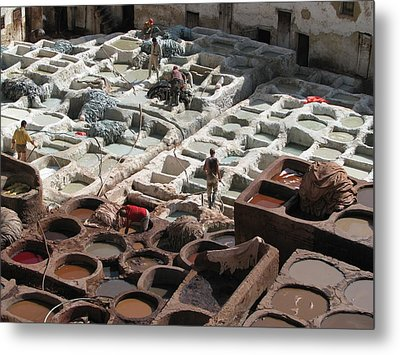 Metal Print featuring the photograph Tanneries At Fez by Erik Falkensteen
