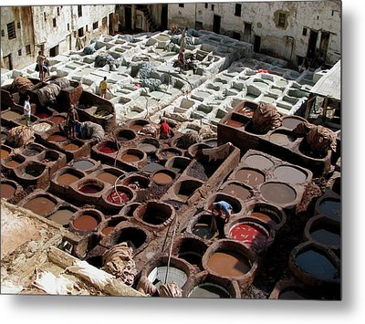 Metal Print featuring the photograph Tanneries At Fez Morocco by Erik Falkensteen