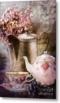 Metal Print featuring the painting Tea And Grapes by Mo T