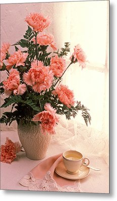 Tea Cup With Pink Carnations Metal Print by Garry Gay