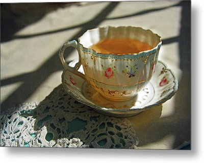 Metal Print featuring the photograph Teacup On Lace by Brooke T Ryan