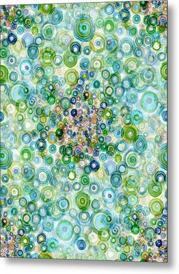 Teal And Olive Concavity Metal Print