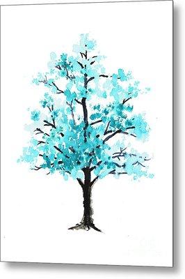 Teal Cherry Blossom Tree Watercolor Art Print Metal Print by Joanna Szmerdt