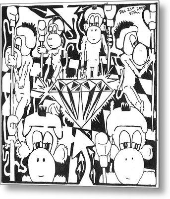 Team Of Monkeys Guarding The Crystal Maze Metal Print by Yonatan Frimer Maze Artist
