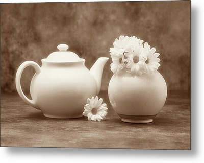 Teapot With Daisies II Metal Print