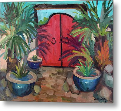Metal Print featuring the painting Tecate Garden Gate by Diane McClary