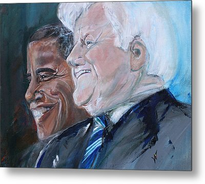 Teddy And Barack Metal Print by Valerie Wolf