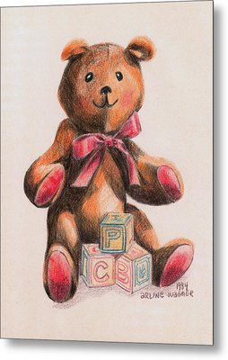 Teddy With Blocks Metal Print by Arline Wagner