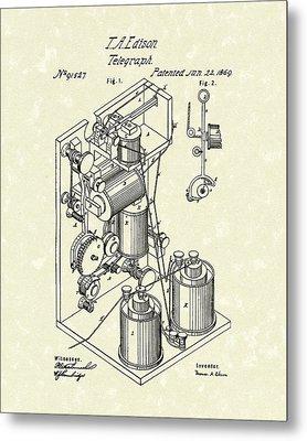 Telegraph 1869 Patent Art Metal Print