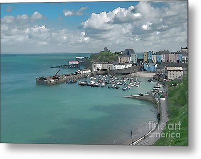 Tenby Harbour Ink Painting Metal Print by Steve Purnell