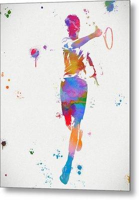 Tennis Player Paint Splatter Metal Print