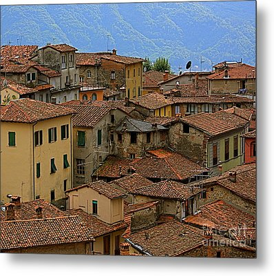 Metal Print featuring the photograph Terra-cotta Roofs Barga Vecchia Italy by Nicola Fiscarelli