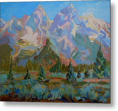 Metal Print featuring the painting Teton Heaven by Francine Frank